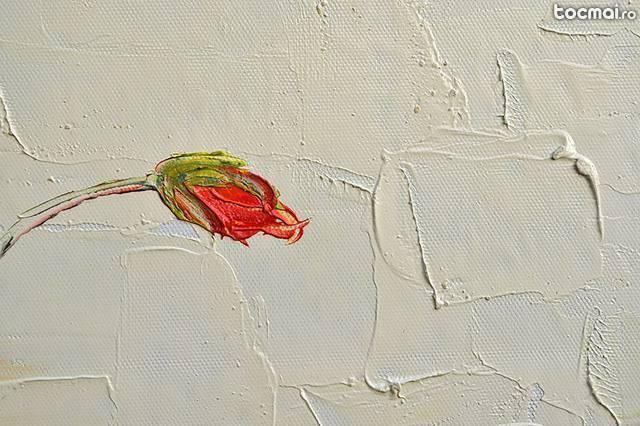 Tablou cu maci (pictura in cutit 50x50cm)