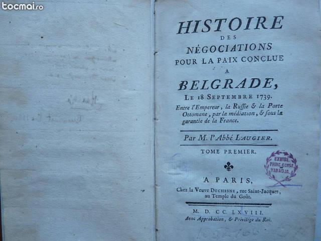 Pacea de la Belgrad din 1739 , Paris , 1768 , ex libris Karadja