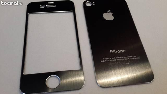Folie protectie aluminiu pentru iphone 4/ 4s. Black.