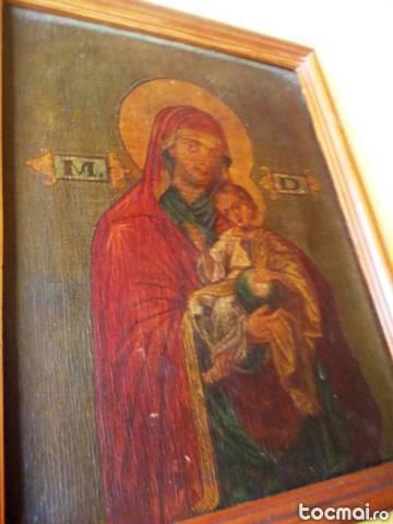 Icoana veche pictata Fecioara Maria si Pruncul ISUS