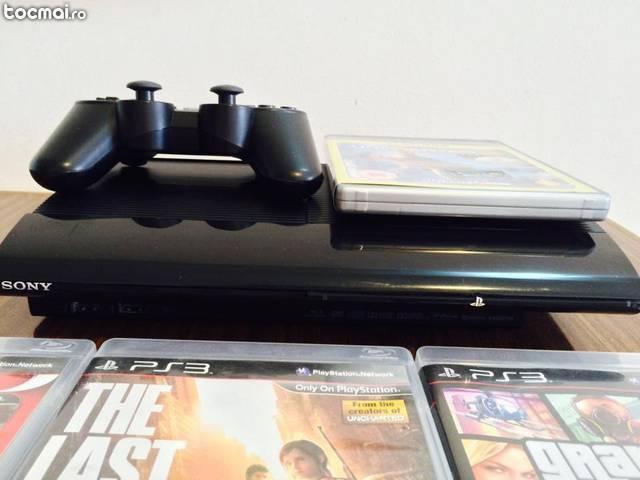 Playstation 3 superslim 500gb, 4 jocuri, ps3