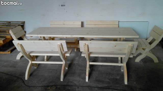 Masa de terasa de 2. 5 m cu 4 banci si 2 scaune