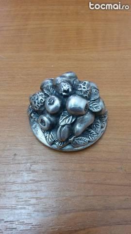 Obiect argint vestita d'argento tarta cu fructe unicat