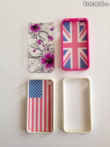 Lot 4 huse/ carcase de protectie iPhone 4